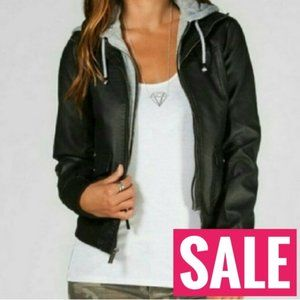 SALE Nwt Vegan leather sweatshirt hoodie layer …